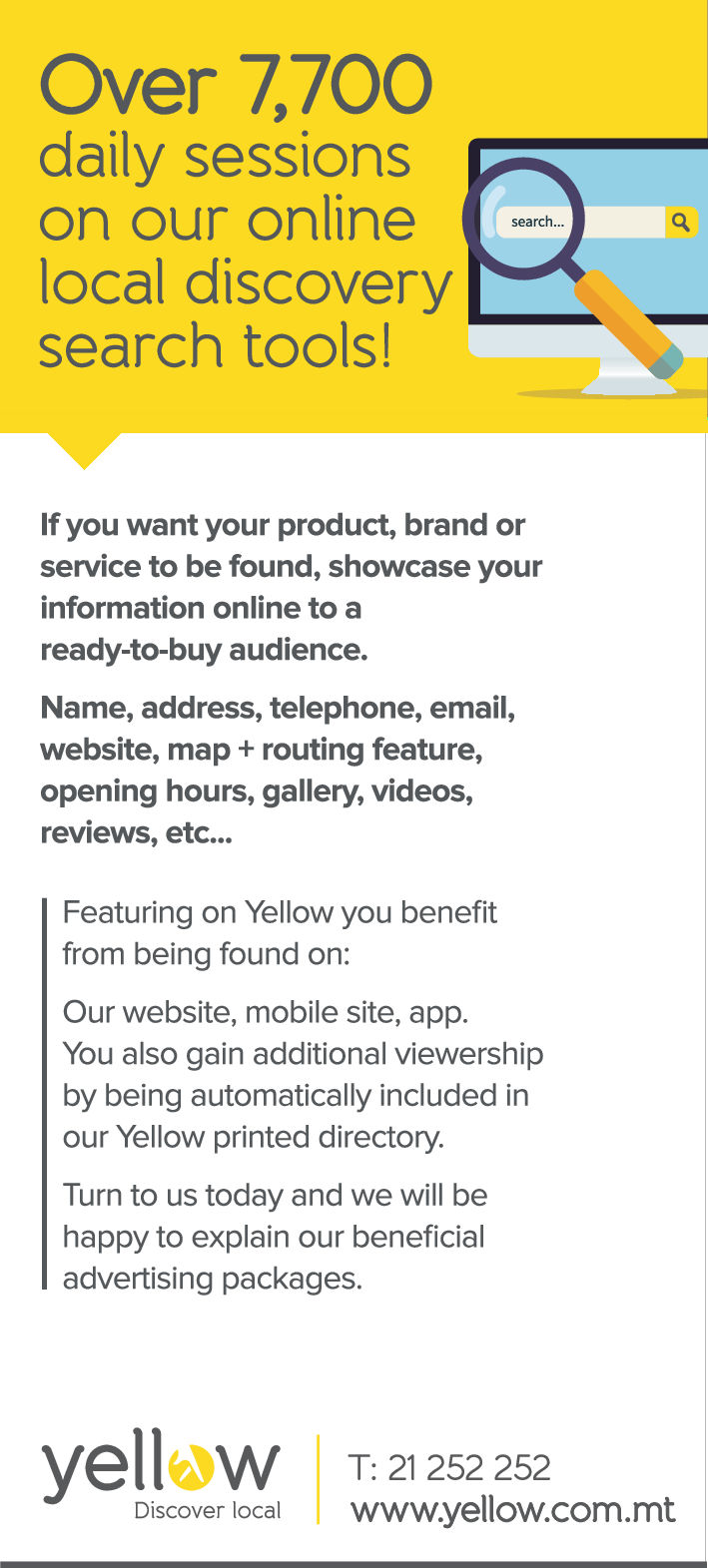 Yellow, Discover local - Advertising-Internet in Marsa