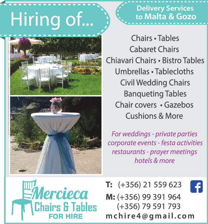 Mercieca Chairs & Tables Hire - Wedding Venues
