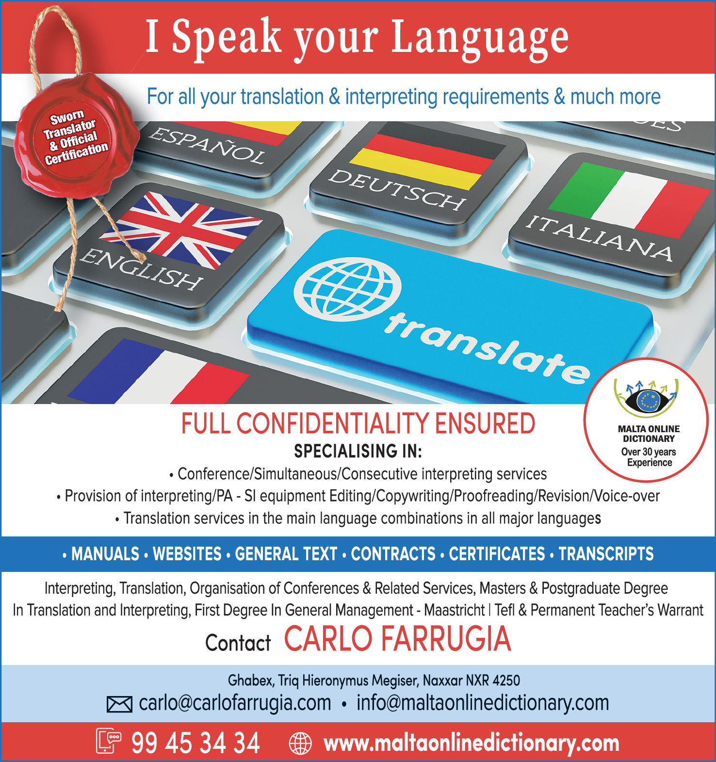 Carlo Farrugia - Malta Online Dictionary Ltd Interpreting