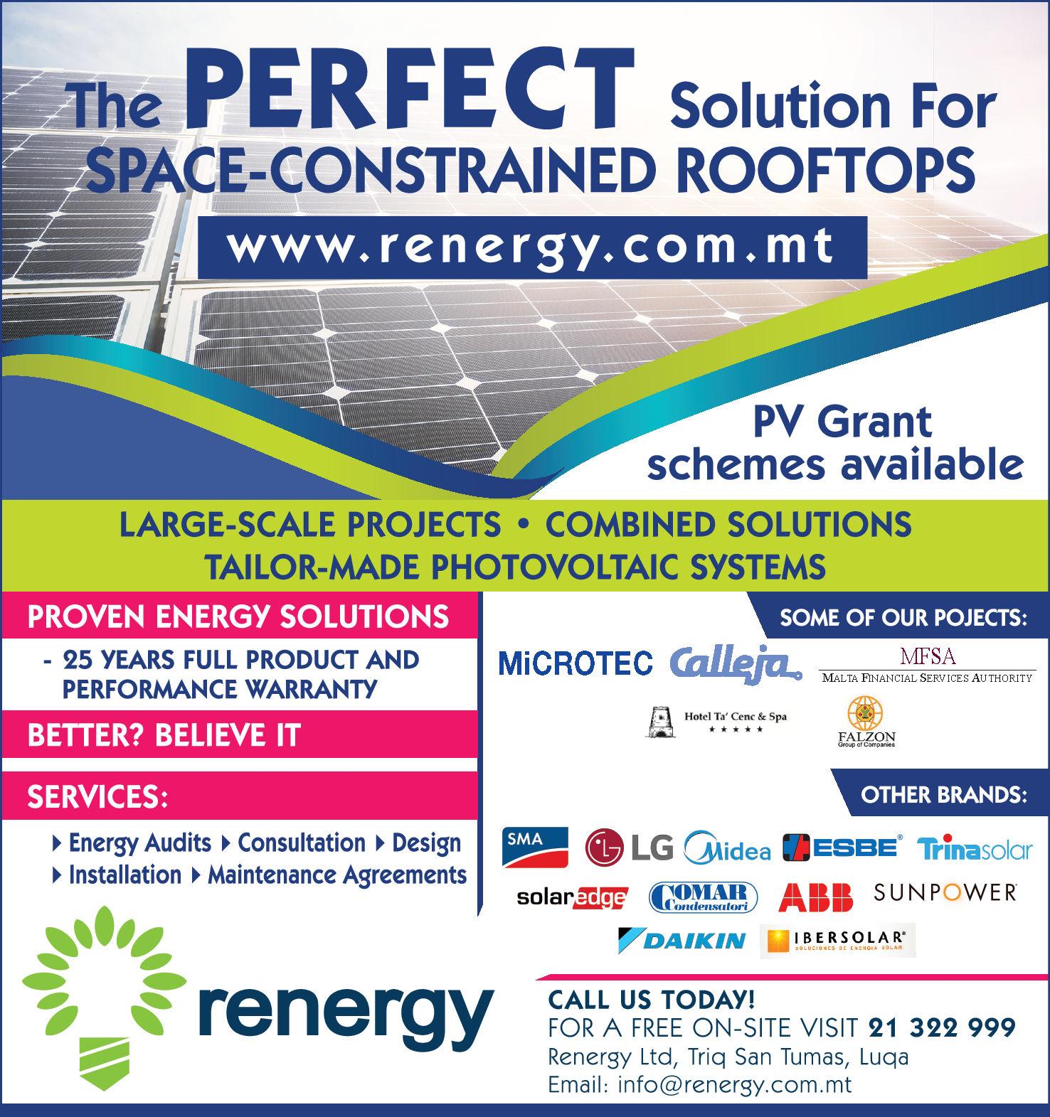 Renergy Ltd - Photovoltaic Systems in Luqa, Malta | Yellow Malta