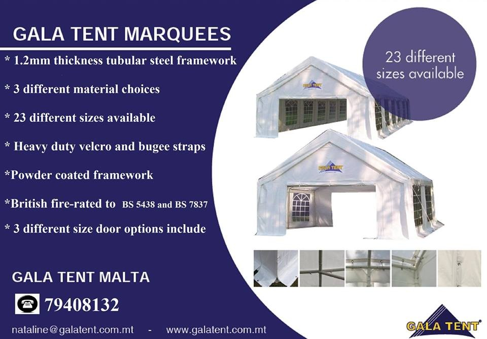 Gala Tent Malta - Awnings, Canopies & Marquees