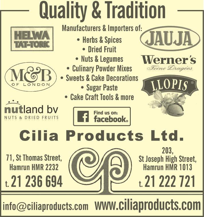 Cilia Products Ltd - Food Importers, Wholesalers & Mfrs in Hamrun