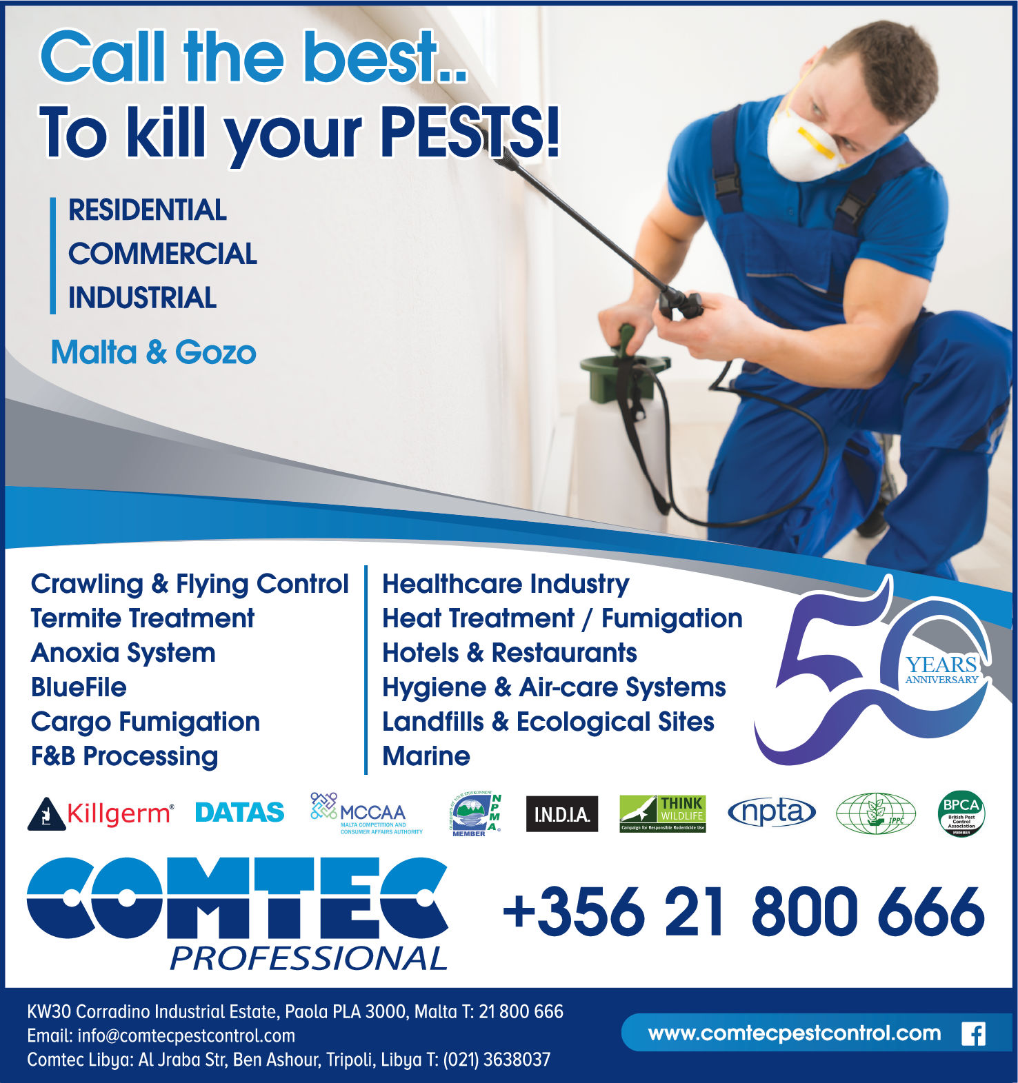 Comtec Service Ltd - Pest Control Services in Paola, Malta
